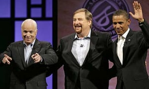 John McCain and Barack Obama with  Pastor Rick Warren