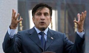Georgian President Mikheil Saakashvili speaks during German Chancellor Angela Merkel's visit to Tbilisi