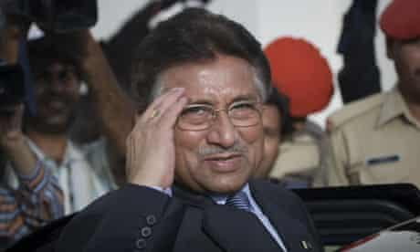 Pervez Musharraf salutes as he leaves