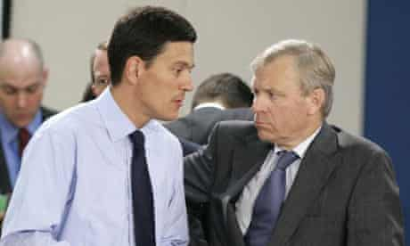 Nato's secretary general, General Jaap De Hoop Scheffer, with Britain's foreign secretary David Miliband during an emergency meeting in Brussels to discuss the crisis in Georgia