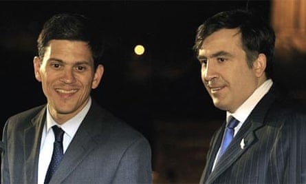 The foreign secretary, David Miliband, joins the Georgian president, Mikheil Saakashvili, at a press conference in Tbilisi