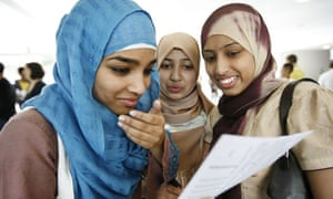 Pupils collect their GCSE results at Morpeth school in Bow, east London