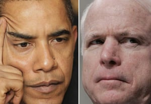 The facial expressions of Barack Obama and John McCain can send messages to voters on the campaign trail. Photographs: AP