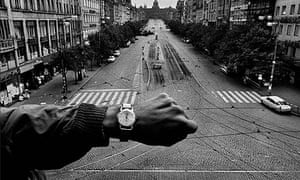 Czechoslovakia, August 1968. Koudelka positioned a passerby to show the exact time that Soviet troops invaded Prague