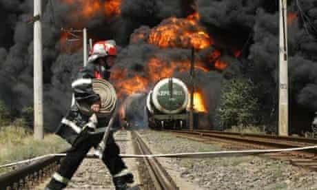 Burning fuel train in Gori