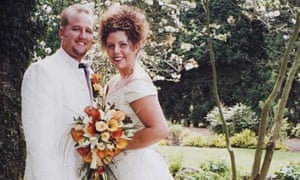 Rachel Prescott and her ex-husband on their wedding day
