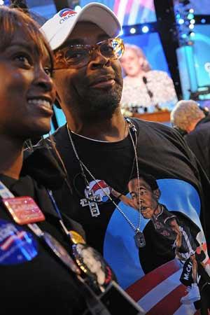 Spike Lee wearing Obama shirt