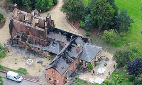 An aerial view of Christopher Foster's burned-out country house in Shropshire
