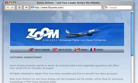 Screenshot of customer announcement on Zoom Airlines' website