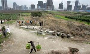 A villager on a farm outside Hangzhou, China