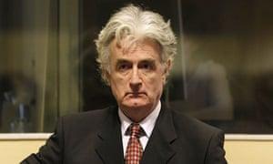 Former Bosnian Serb leader Radovan Karadzic attends a hearing at the UN war crimes tribunal in The Hague August 29