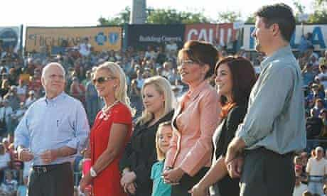John McCain, his wife Cindy, their daughter Meghan, Sarah Palin, her daughters Piper and Bristol with her husband Todd at Consol Energy Park August 30, 2008 in Washington. Photograph: Joe Raedle/Getty Images