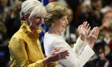 Cindy McCain and Laura Bush in St Paul. Photograph: Rick Wilking/Reuters
