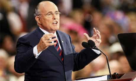Former Republican presidential candidate and New York mayor Rudy Giuliani speaks at the Republican convention