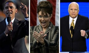 Barack Obama, Sarah Palin and John McCain