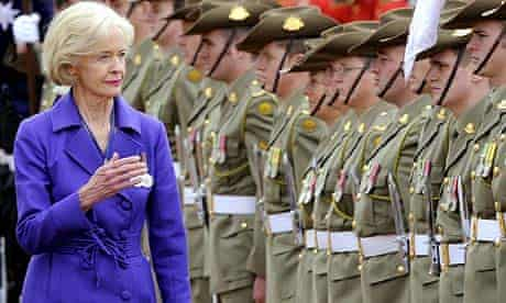 Quentin Bryce inspects the Federation Guard in Canberra after being sworn in as Australia's first female governor-general
