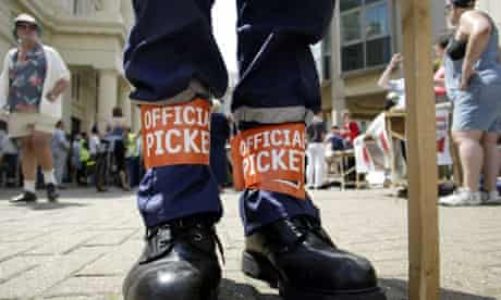 An official picket at a protest outside Brighton Town Hall in 2002