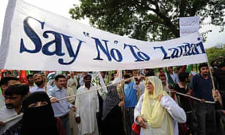 Protesters hold a rally against president-elect Asif Ali Zardari, the widower of the former Pakistani premier Benazir Bhutto