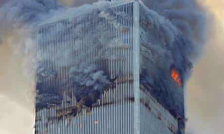 The north tower of New York's World Trade Centre on September 11 2001