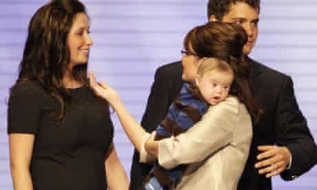 Sarah Palin with her pregnant daughter Bristol at the Republican convention