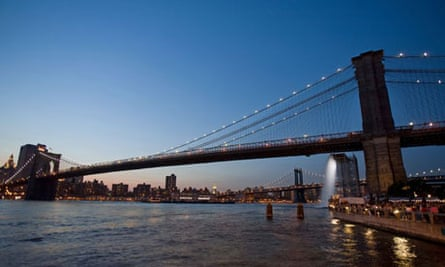 New York City Waterfalls by Olafur Eliasson at the Brooklyn Bridge in New York. Photograph: Erik C Pendzich/Rex Features