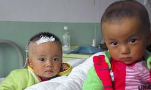 Two Chinese babies in hospital