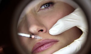 A woman receiving plastic surgery