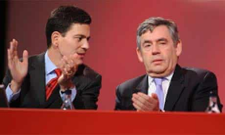 David Miliband and Gordon Brown at the Labour party conference 2007