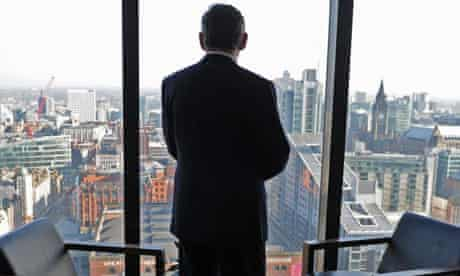 Gordon Brown, the prime minister, looks out over Manchester on day two of the Labour party conference