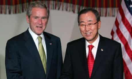 US President George W. Bush shakes hands with UN Secretary General Ban Ki-Moon