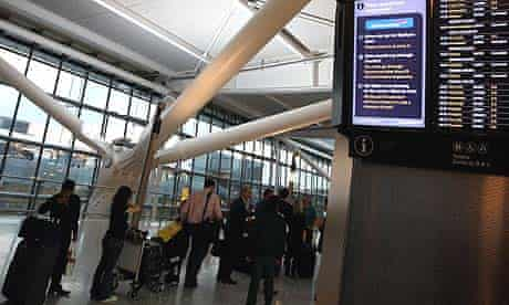 Queues at Heathrow last night after flights were cancelled due to an air traffic control failure