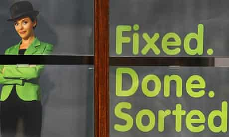 A poster is seen in the window of a branch of Bradford and Bingley
