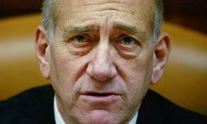 Ehud Olmert at a weekly cabinet meeting