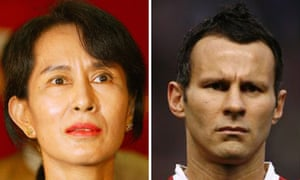 A composite picture of Aung San Suu Kyi and Ryan Giggs