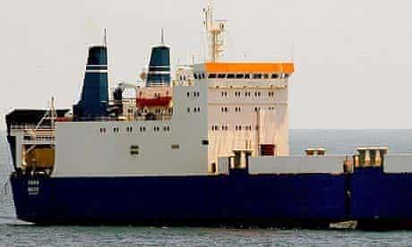 The MV Faina seen from the USS Vella Gulf off the coast of Somalia