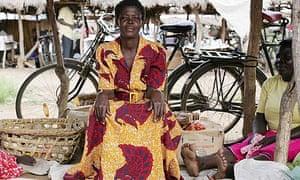 Women selling tomatoes at Katine market