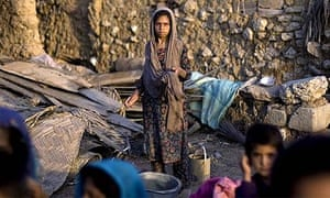 An Afghan girl in a refugee camp on the outskirts of Islamabad, Pakistan