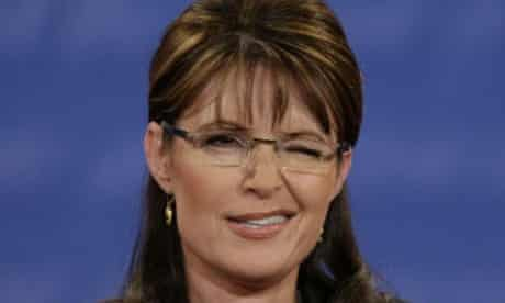 Sarah Palin winks to the audience at the VP debate