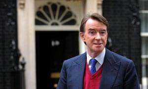 Peter Mandelson addresses the media outside 10 Downing Street
