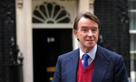Peter Mandelson addresses the media outside 10 Downing Street