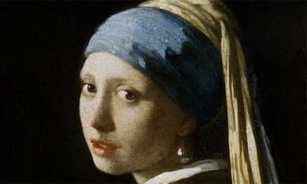 Painting by top Dutch master Vermeer entitled Girl With A Pearl Earring