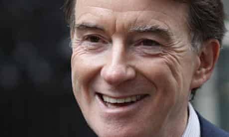 Peter Mandelson in Downing Street after a meeting with Gordon Brown on Friday