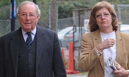 Sir Richard Tucker and his wife, Lady Jacqueline, arriving at Gloucester magistrates court