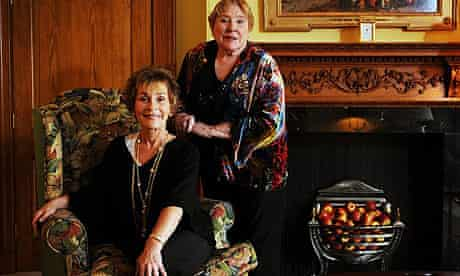 Judge Judy, presenter of a courtroom reality televsion progamme, with author Fay Weldon