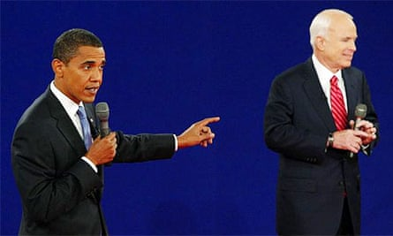 Barack Obama answers a question during his debate with John McCain at Belmont University in Nashville, Tennessee