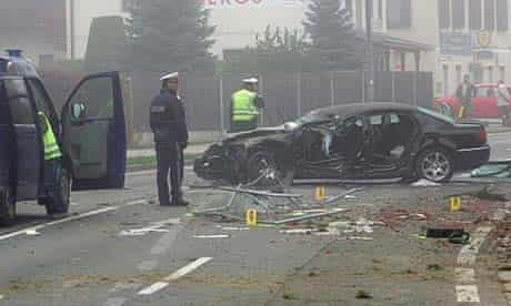 Police at the scene of the crash near Klagenfurt in which Jörg Haider died