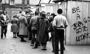 Dole queue in Brixton in the 80s