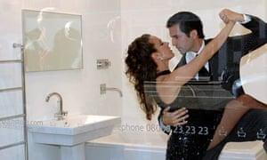 Rodrigo Pardo and Cristina Cortes perform Toilet Tango during the Umbrella Dance Festival