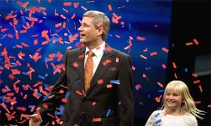 The Canadian prime minister, Stephen Harper, celebrates his Conservative party's election victory with his daughter, Rachel