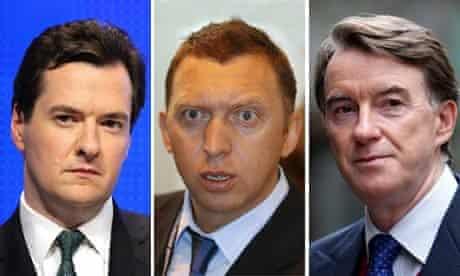 A composite picture of George Osborne, Oleg Deripaska and Peter Mandelson